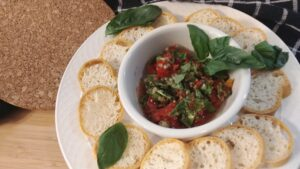 Place the toasted pieces on a platter to enjoy the Farr Better Easy Bruschetta Recipe.