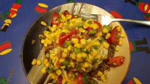 Farr Better Low Carb Veggie Burger recipe with Farr Better Corn Salza on top