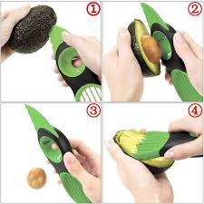 Use our 3-in-1 Avocado Slicer to extract the fruit from the skin and pit.