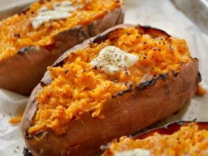 Baked sweet potato as a side dish to the Farr Better Low Carb Veggie Burger