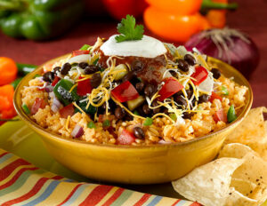 Dress up the Mexican style rice dish with the Black Bean Corn Salza.