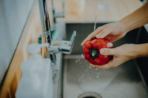 Make sure to wash your bell peppers with Earth's Natural fruit & Vegetable Wash