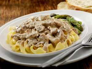 Pour your delicious.Farr Better Creamy Mushroom Stroganoff on top of your noodle/starch choice.